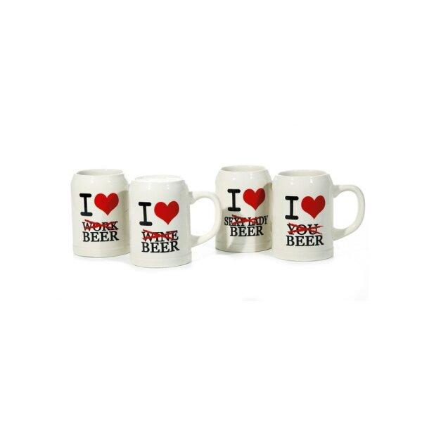 """Bierkrug """"I love.."""" aus Steinzeug 0,5 l"""