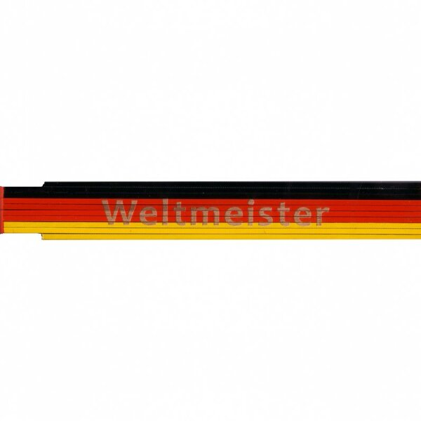 Zollstock schwarz/rot/gelb: Weltmeister