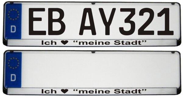 """2 Stück Kennzeichenhalter Silber Ich Liebe """"meine Stadt"""""""